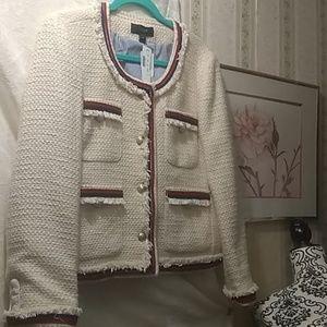 J. Crew Fringy tweed jacket